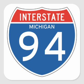 Interstate Sign 94 - Michigan Square Sticker