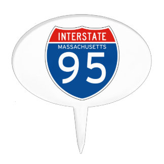 Interstate Sign 95 - Massachusetts Cake Toppers