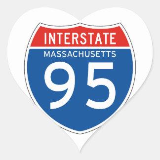 Interstate Sign 95 - Massachusetts Heart Sticker