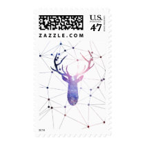 deer, interstellar, cool, animal, nebula, fashion, stag, space, geometric, boho, pretty, hipster, fun, trend, fashionable, postage, stamp, Stamp with custom graphic design