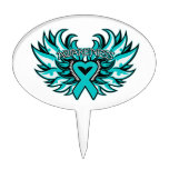 Interstitial Cystitis Awareness Heart Wings Oval Cake Picks