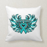 Interstitial Cystitis Awareness Heart Wings Pillow