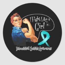 Interstitial Cystitis Fight Like a Girl Rosie The Classic Round Sticker
