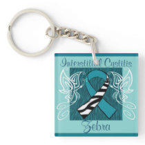 """Interstitial Cystitis Zebra"" Keychain"