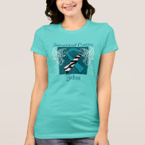 """Interstitial Cystitis Zebra"" Ribbon Tee - Teal"