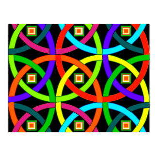 Intertwined circles of color postcard
