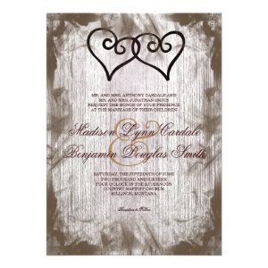 Intertwined Double Hearts Rustic Wedding Invites Invitation
