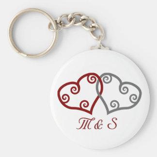 Intertwined hearts monogram keychain