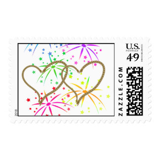Intertwined hearts tangled rope romantic fireworks postage