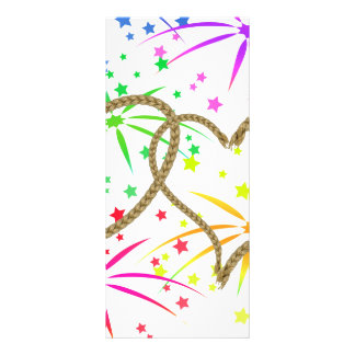 Intertwined hearts tangled rope romantic fireworks rack card