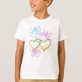 Intertwined hearts tangled rope romantic fireworks T-Shirt