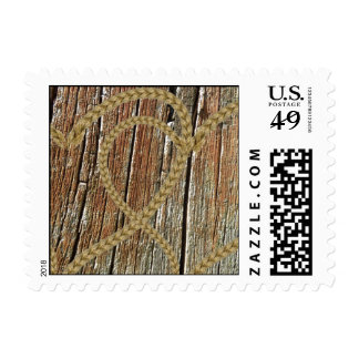 Intertwined hearts tangled rope romantic wooden postage