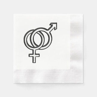 Intertwined Symbol for Male and Female Paper Napkin
