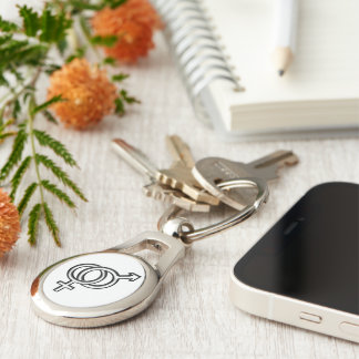Intertwined Symbol for Male and Female Silver-Colored Oval Metal Keychain