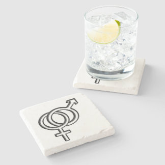 Intertwined Symbol for Male and Female Stone Coaster