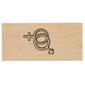 Intertwined Symbol for Male and Female Wood Flash Drive