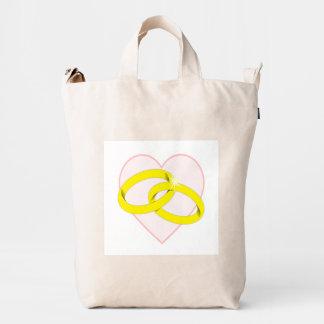 Intertwined Wedding Rings Duck Bag
