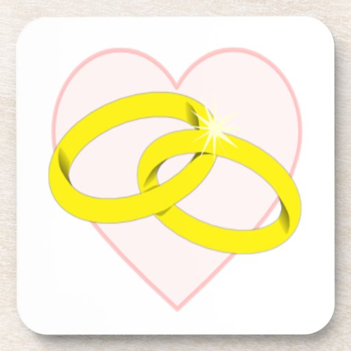Intertwined wedding rings amp heart beverage coaster zazzle