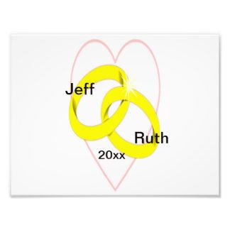 Intertwined Wedding Rings & Heart Photo Print