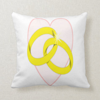 Intertwined Wedding Rings Heart Pillow
