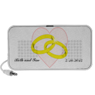 Intertwined Wedding Rings & Heart Portable Speaker