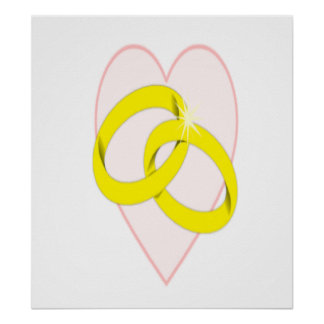 Intertwined Wedding Rings & Heart Print