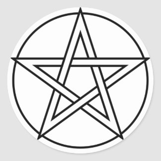 Intertwined White Pentacle Classic Round Sticker