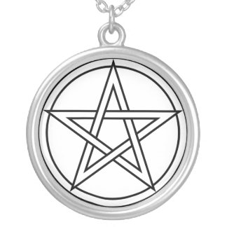 Intertwined White Pentacle Necklace