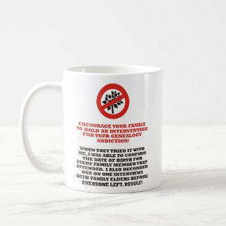 Intervención de la genealogía tazas de café