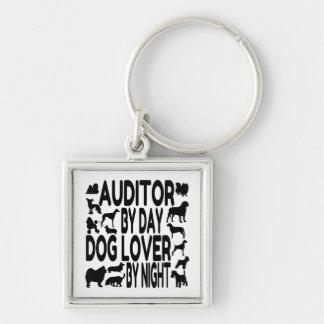 Interventor del amante del perro llavero cuadrado plateado