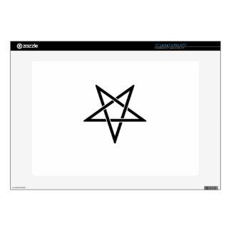 """Interwoven Inverted Black Pentagram Flag Decals For 15"""" Laptops"""