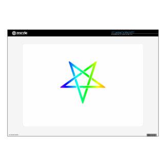 "Interwoven Inverted Rainbow Pentagram Flag 15"" Laptop Skin"