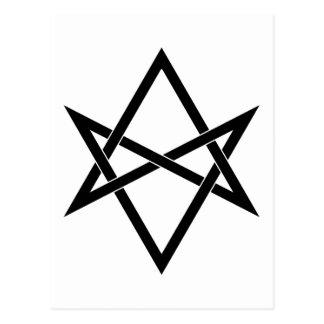 Interwoven unicursal hexagram postcard