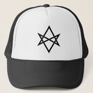 Interwoven unicursal hexagram trucker hat