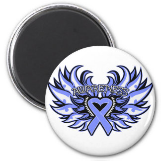 Intestinal Cancer Awareness Heart Wings.png 2 Inch Round Magnet