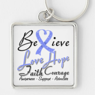 Intestinal Cancer Believe Heart Collage Key Chains