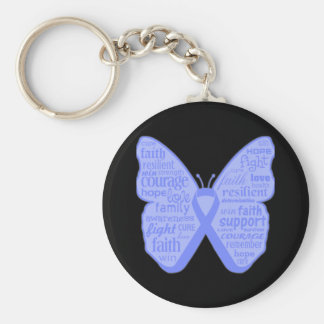 Intestinal Cancer Butterfly Collage of Words Keychains