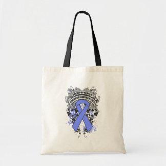 Intestinal Cancer - Cool Support Awareness Slogan Budget Tote Bag