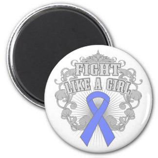 Intestinal Cancer Fight Like A Girl Fleurish 2 Inch Round Magnet