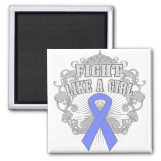 Intestinal Cancer Fight Like A Girl Fleurish 2 Inch Square Magnet