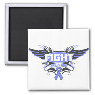 Intestinal Cancer Fight Like a Girl Wings.png 2 Inch Square Magnet