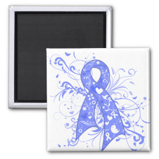 Intestinal Cancer Floral Swirls Ribbon 2 Inch Square Magnet