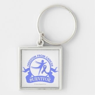 Intestinal Cancer - Freedom From Cancer Survivor Silver-Colored Square Keychain