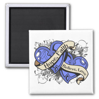 Intestinal Cancer Hope Faith Dual Hearts 2 Inch Square Magnet