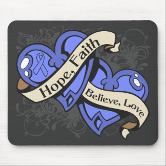 Intestinal Cancer Hope Faith Dual Hearts Mouse Pad