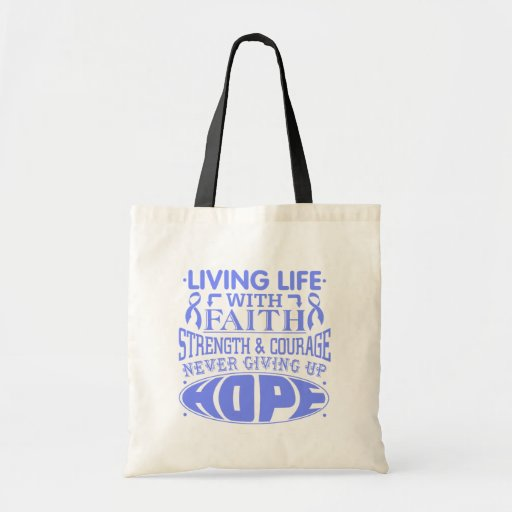 Intestinal Cancer Living Life with Faith Tote Bags
