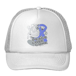 Intestinal Cancer Peace Love Cure Trucker Hat