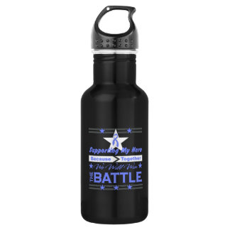 Intestinal Cancer Supporting My Hero 18oz Water Bottle