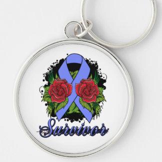 Intestinal Cancer Survivor Rose Grunge Tattoo Silver-Colored Round Keychain