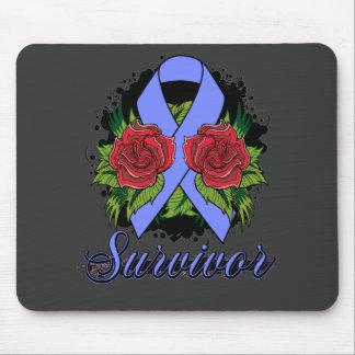 Intestinal Cancer Survivor Rose Grunge Tattoo Mouse Pad
